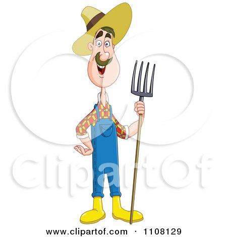 Clipart Happy Farmer Man Holding A Pitchfork - Royalty Free Vector Illustration by yayayoyo