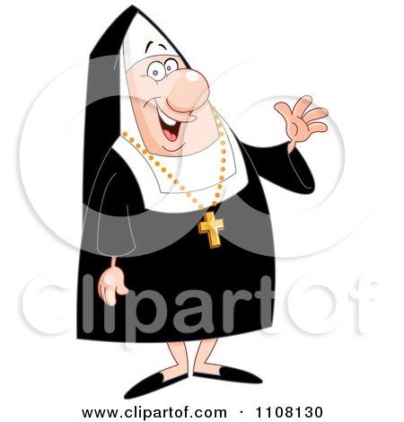 Clipart Friendly Nun Waving - Royalty Free Vector Illustration by yayayoyo
