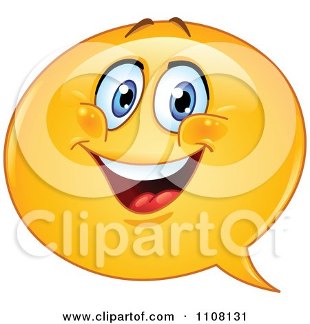 Happy Chat Balloon Emoticon Face Posters, Art Prints