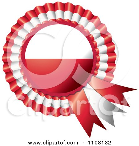 Clipart Shiny Polish Flag Rosette Bowknots Medal Award - Royalty Free Vector Illustration by MilsiArt