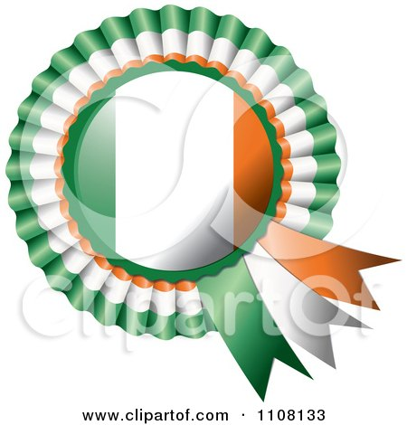 Clipart Shiny Irish Flag Rosette Bowknots Medal Award - Royalty Free Vector Illustration by MilsiArt