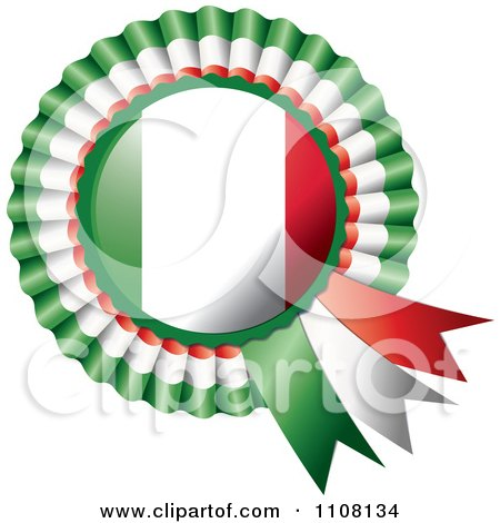 Clipart Shiny Italian Flag Rosette Bowknots Medal Award - Royalty Free Vector Illustration by MilsiArt
