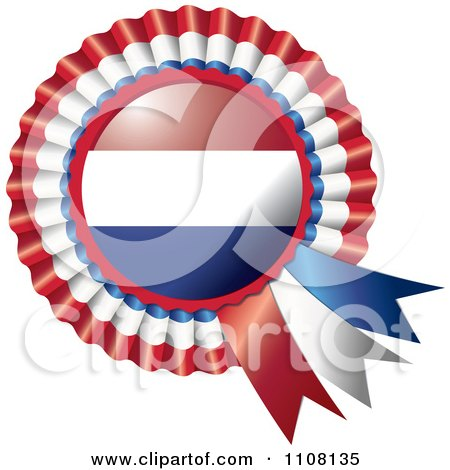 Clipart Shiny Netherlands Flag Rosette Bowknots Medal Award - Royalty Free Vector Illustration by MilsiArt