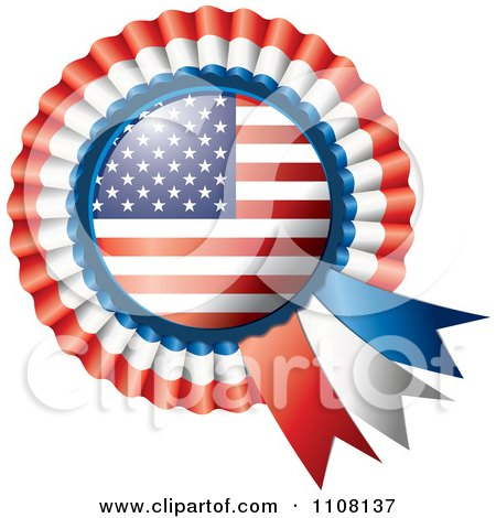 Clipart Shiny American Flag Rosette Bowknots Medal Award - Royalty Free Vector Illustration by MilsiArt