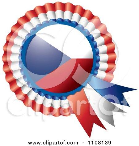Clipart Shiny Czech Republic Flag Rosette Bowknots Medal Award - Royalty Free Vector Illustration by MilsiArt