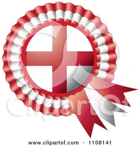 Clipart Shiny England Flag Rosette Bowknots Medal Award - Royalty Free Vector Illustration by MilsiArt