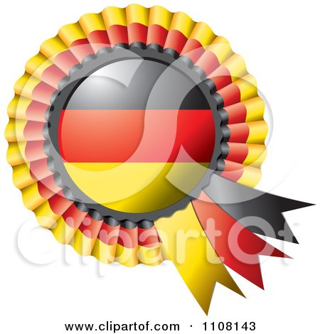 Clipart Shiny German Flag Rosette Bowknots Medal Award - Royalty Free Vector Illustration by MilsiArt