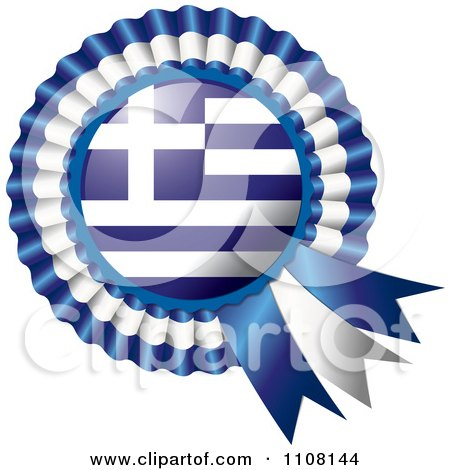 Clipart Shiny Greek Flag Rosette Bowknots Medal Award - Royalty Free Vector Illustration by MilsiArt