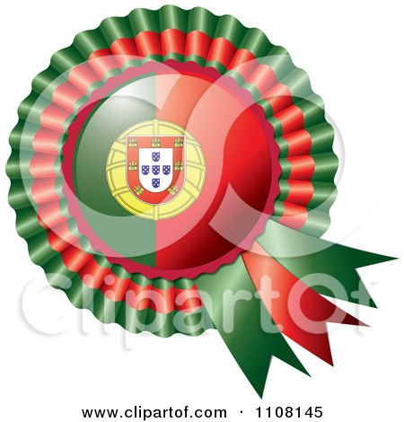 Clipart Shiny Portugese Flag Rosette Bowknots Medal Award - Royalty Free Vector Illustration by MilsiArt