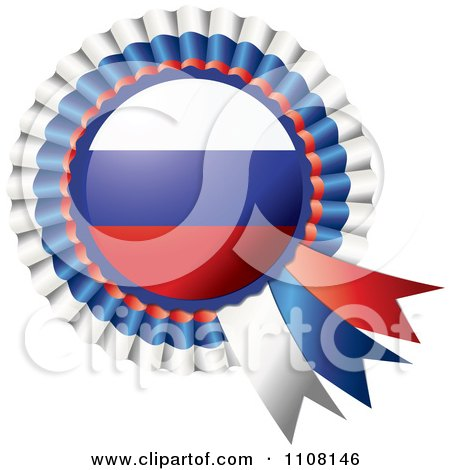 Clipart Shiny Russian Flag Rosette Bowknots Medal Award - Royalty Free Vector Illustration by MilsiArt