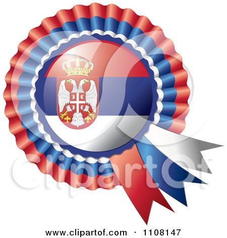 Clipart Shiny Serbian Flag Rosette Bowknots Medal Award - Royalty Free Vector Illustration by MilsiArt