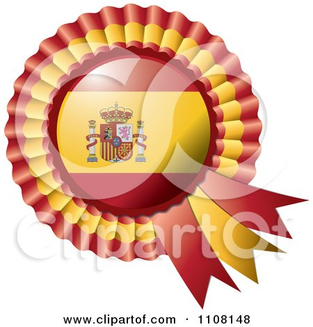 Clipart Shiny Spanish Flag Rosette Bowknots Medal Award - Royalty Free Vector Illustration by MilsiArt