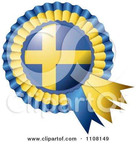 Clipart Shiny Sweden Flag Rosette Bowknots Medal Award - Royalty Free Vector Illustration by MilsiArt