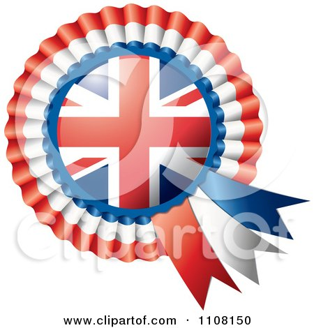 Clipart Shiny UK Flag Rosette Bowknots Medal Award - Royalty Free Vector Illustration by MilsiArt