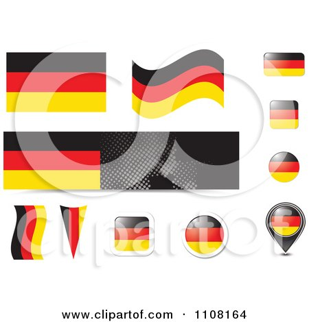 Clipart German Flag Website Design Elements - Royalty Free Vector Illustration by MilsiArt