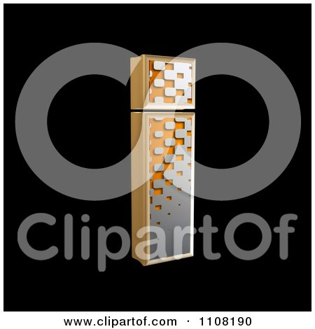 Clipart 3d Halftone Lowercase Letter I On Black - Royalty Free Illustration by chrisroll