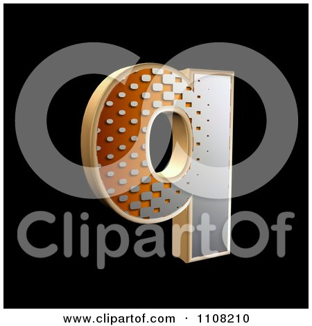 Clipart 3d Halftone Lowercase Letter Q On Black - Royalty Free Illustration by chrisroll