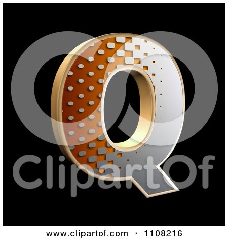 Clipart 3d Halftone Capital Letter Q On Black - Royalty Free Illustration by chrisroll