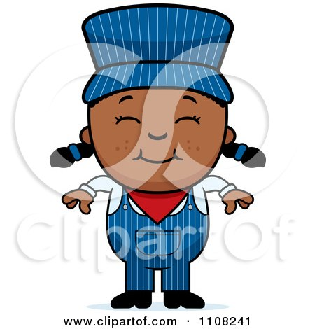 Clipart Happy Black Train Engineer Girl - Royalty Free Vector Illustration by Cory Thoman