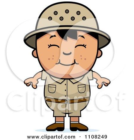Clipart Happy Asian Safari Boy - Royalty Free Vector Illustration by Cory Thoman