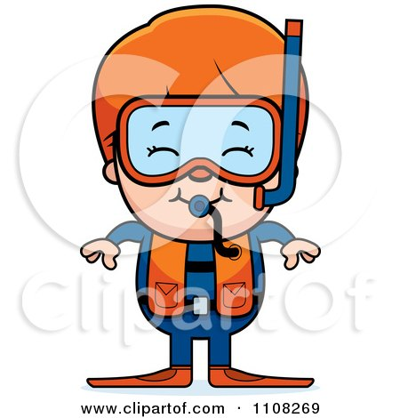 Clipart Happy Red Haired Scuba Boy - Royalty Free Vector Illustration by Cory Thoman
