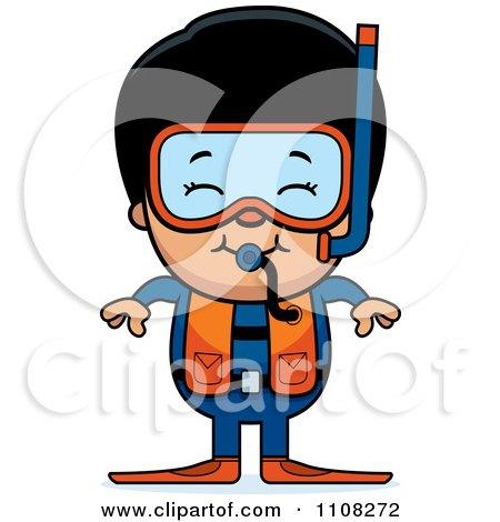 Clipart Happy Asian Scuba Boy - Royalty Free Vector Illustration by Cory Thoman