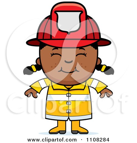 Clipart Happy Black Fire Fighter Girl - Royalty Free Vector Illustration by Cory Thoman