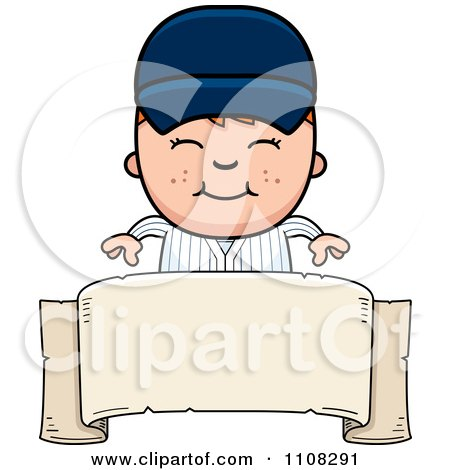 Clipart Happy Baseball Boy Over A Blank Banner - Royalty Free Vector Illustration by Cory Thoman