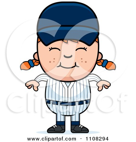 Clipart Happy Baseball Girl - Royalty Free Vector Illustration by Cory Thoman