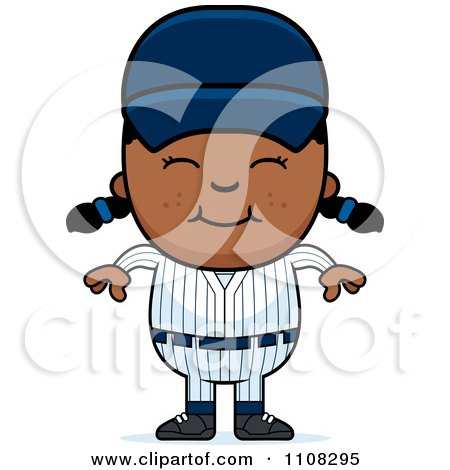 Clipart Happy Black Baseball Girl - Royalty Free Vector Illustration by Cory Thoman