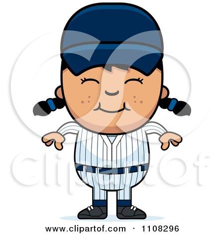 Clipart Happy Asian Baseball Girl - Royalty Free Vector Illustration by Cory Thoman