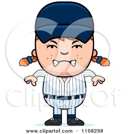 Clipart Angry Baseball Girl - Royalty Free Vector Illustration by Cory Thoman