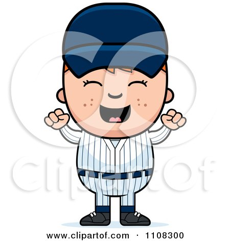 Clipart Happy Baseball Boy Cheering - Royalty Free Vector Illustration by Cory Thoman