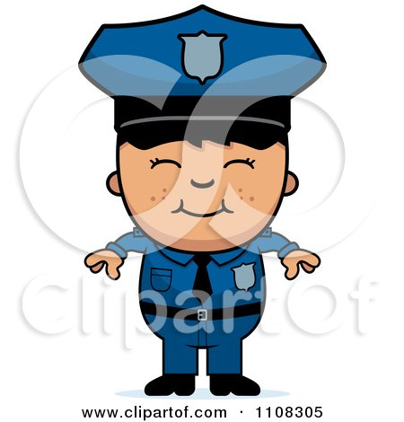 Clipart Happy Asian Police Boy - Royalty Free Vector Illustration by Cory Thoman