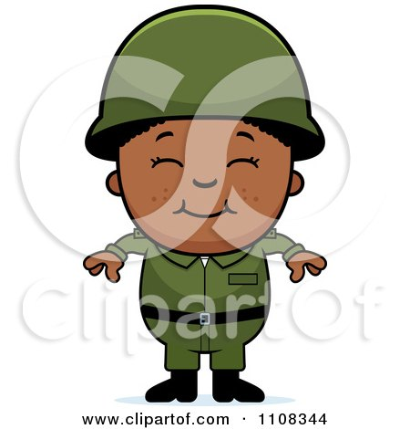 Clipart Happy Black Army Boy - Royalty Free Vector Illustration by Cory Thoman