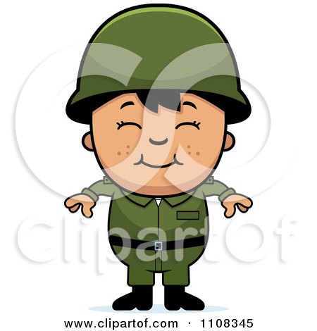 Clipart Happy Asian Army Boy - Royalty Free Vector Illustration by Cory Thoman
