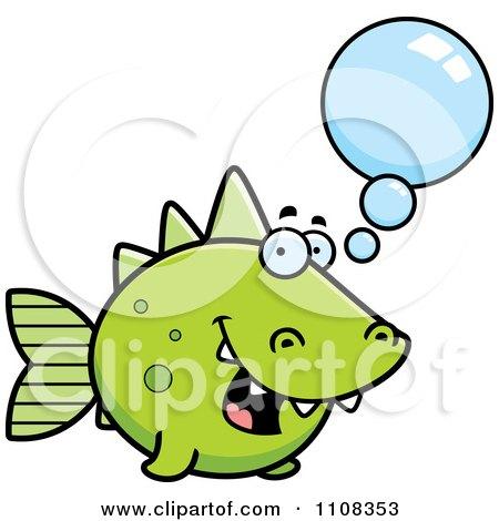 Clipart Talking Green Dino Fish - Royalty Free Vector Illustration by Cory Thoman