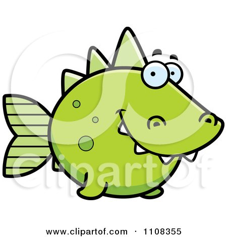 Clipart Green Dino Fish - Royalty Free Vector Illustration by Cory Thoman