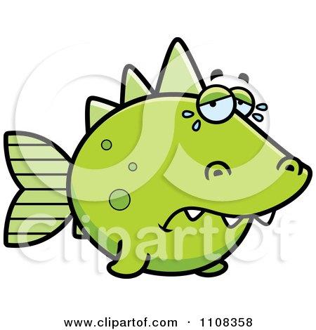 Clipart Crying Green Dino Fish - Royalty Free Vector Illustration by Cory Thoman