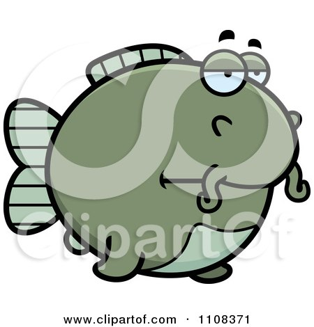 Clipart Bored Chubby Catfish - Royalty Free Vector Illustration by Cory Thoman