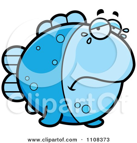 Clipart Crying Blue Fish - Royalty Free Vector Illustration by Cory Thoman