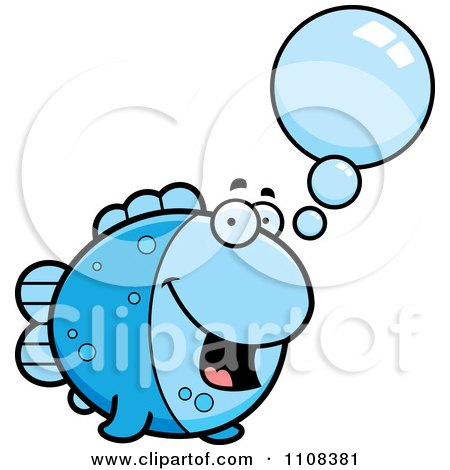 Clipart Talking Blue Fish - Royalty Free Vector Illustration by Cory Thoman