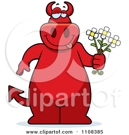 Clipart Big Red Devil Holding Flowers - Royalty Free Vector Illustration by Cory Thoman