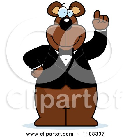 Clipart Bear Wearing A Tux And Holding Up An Idea Finger - Royalty Free Vector Illustration by Cory Thoman