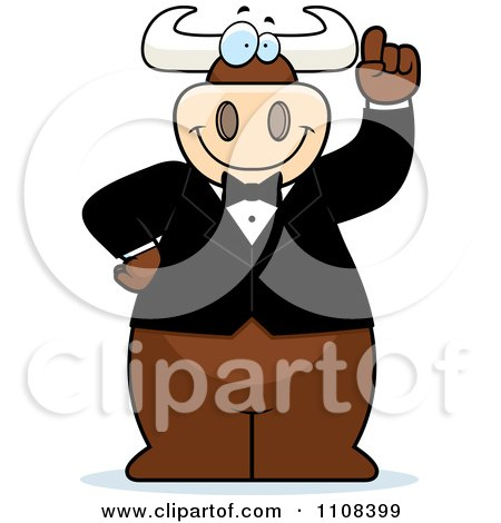 Clipart Bull Wearing A Tux And Holding Up An Idea Finger - Royalty Free Vector Illustration by Cory Thoman