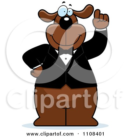 Clipart Brown Dog With An Idea Wearing A Tuxedo - Royalty Free Vector Illustration by Cory Thoman