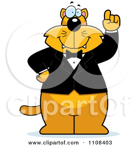 Clipart Ginger Cat With An Idea Wearing A Tuxedo - Royalty Free Vector Illustration by Cory Thoman