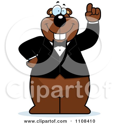Clipart Gopher With An Idea Wearing A Tuxedo - Royalty Free Vector Illustration by Cory Thoman