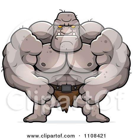 Clipart Tough Buff Ogre - Royalty Free Vector Illustration by Cory Thoman