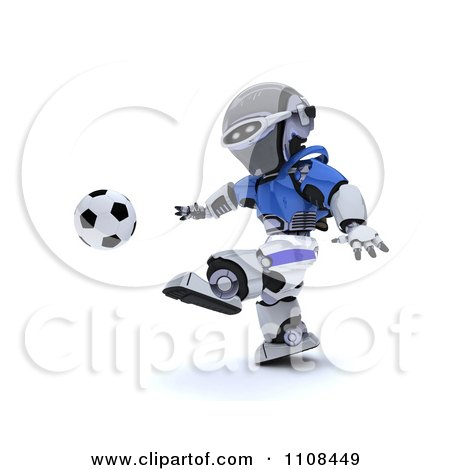Clipart 3d Italian Robot Playing Soccer - Royalty Free CGI Illustration by KJ Pargeter